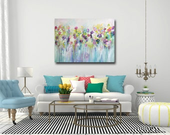 Large Wall Art, Canvas Art, Abstract Floral Canvas Print, Giclee Print, Large Floral Art Painting, Canvas Print, Floral Meadow Painting