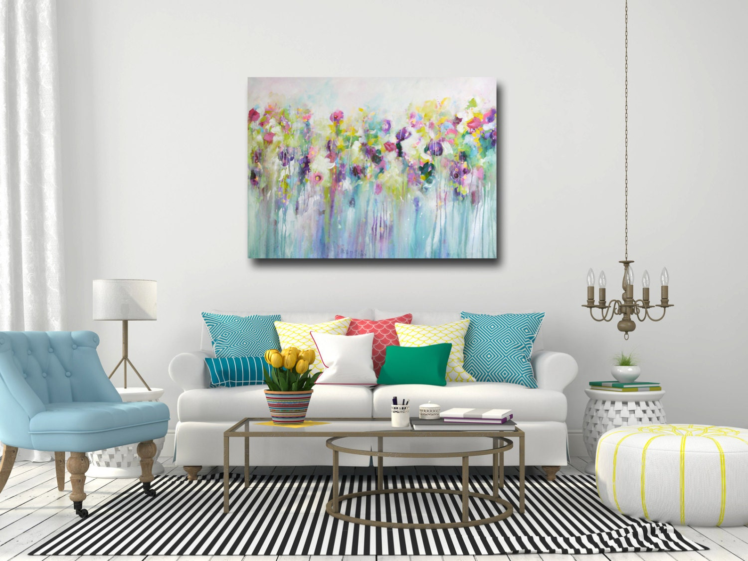Large wall art canvas art abstract floral canvas print for Big wall decor