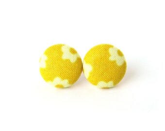 Yellow stud earrings - yellow button earrings - yellow fabric earrings - gift for her under 10 - bright sunny happy