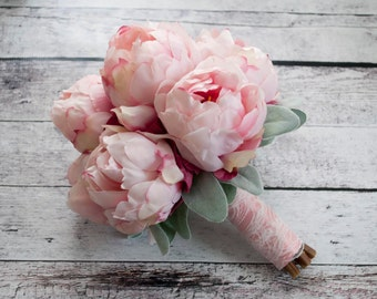 Blush Pink Peony Bouquet with Lamb's Ear and Lace