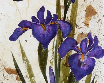 Large Iris Butterfly Original Watercolor Ink Painting on Paper Collage, Japanese Art, Asian Art, Zen Art, Iris Painting Lynn Gobble