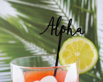 Aloha, Tropical and Hawaiian Inspired Stir Sticks, Drink Stirrers, Swizzle Sticks, Laser Cut, Acrylic, 6 Ct.
