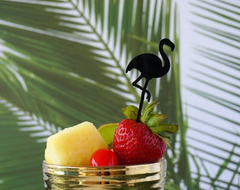 Flamingo Cupcake Toppers and/or Appetizer Picks, Laser Cut, Acrylic 6 CT., Tropical