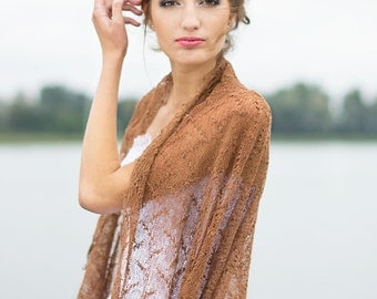 Scarf Brown Lace Shawl Linen Knitted Shawl Sheer Bridesmaid Stole Gauze Linen Scarf