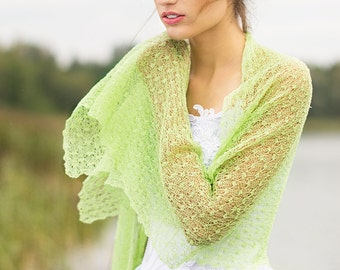 Light Green Scarf Tender Shoots Shawl Bridesmaids Stole Knitted Linen Shawl Sheer Scarf Boho Lace Stole Beach Weddings Scarf