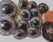 """12  Matching Antique Black Glass Fabric-Look Buttons 1"""""""