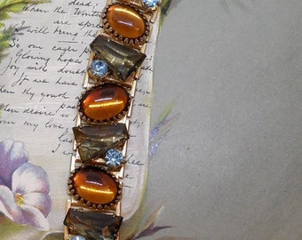 Wide Amber Cabochon & Tapered Bagette BookChain Bracelet    MY40