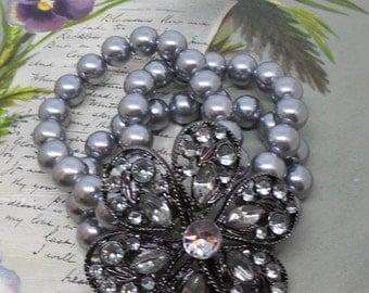 Silver Gray Pearl 3 Strand Stretch Bracelet w/ Big Rhinestone Flower    MAT22
