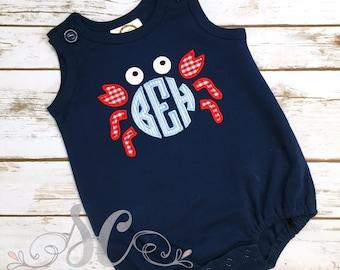 Monogram Crab Summer Bubble - Boy Girl Birthday Birthday - Boy Beach Clothes - Baby Beach Shirt - Baby Summer Bubble Outfit - Crab Outfit