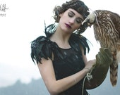 Black feather shoulder epaulette, feather wings removable