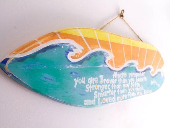 Surfboard beach sign beach decor surf decor beach baby nursery for Surf nursery ideas