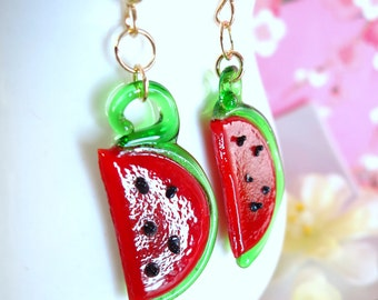 Glass watermelon dangle gold filled earrings, cut watermelon glass dangle gold earrings, watermelon picking glass earrings
