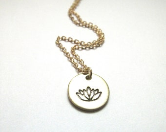 Little Lotus Necklace // Engraved Necklace // PilatesNecklace // Hand-Stamped // Delicate Necklace // Charm Necklace // Flower Necklace