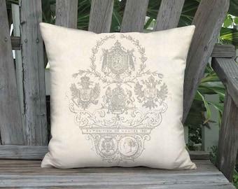 Small Pillow - Exposition Nantes Pillow Cover - Linen Cotton French Farmhouse Pillow - 12x12  14x14 Inch Cushion Cover