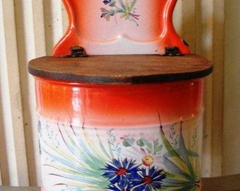 Antique French enameled JAPY SALT BOX Cornflowers handpainted