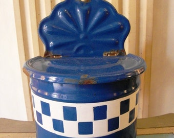 Antique French enameled SALT BOX BLUE Checks Lustucru