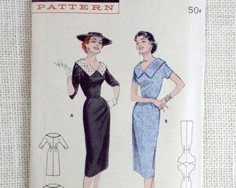 Vintage Pattern Butterick 7175 1950s 1955 Dress portrait collar Uncut Wiggle Bust 32 Rockabilly Retro Picture Frame Collar Spectator