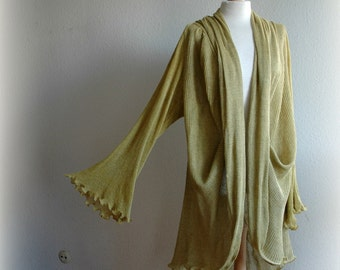 Natural Yellow Olive Cardigan With LINEN Knitted Eco Friendly Sweater Wrap Clothing Casual Style Natura