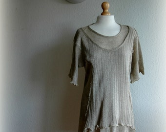 LINEN  Summer Grey  Tunic  With  Knitted  Natural Fiber Art Eco Friendly Eco Style Woman's Clothing