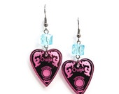 Pink Ouija Planchette Dangle Earrings with Blue Cube Beads