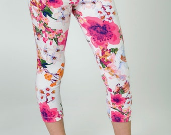 SALE// Girls floral capri leggings, pink cotton leggings for toddlers kids, toddler girls kids clothes