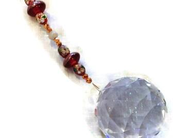 Feng Shui Crystal 40mm Sun Catcher Glass Beads Rainbow Ornament Red & Auburn Beads