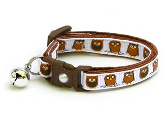 Owl Cat Collar - Little Brown Owls on White - Small Cat / Kitten Size or Large Size
