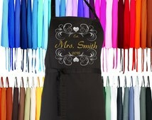 Mrs. Future Bride Apron  - FREE Shipping - Your choice of Size, Colour & Text - Perfect Personalized WEDDING GIFT