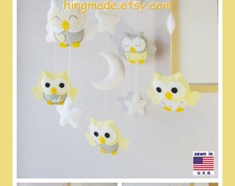 Baby Mobile, Baby Crib Mobile, Owl Nursery Decor, Neutral Owl Mobile, Newborn Baby Gifts, Yellow and Gray Nursery, Match Bedding Mobile