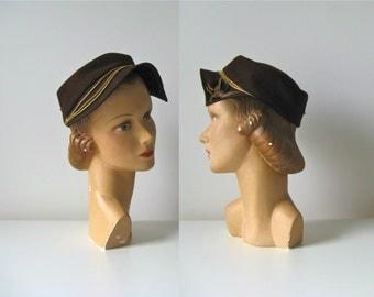 vintage 1950s hat / 50s hat / Fudge Brownie