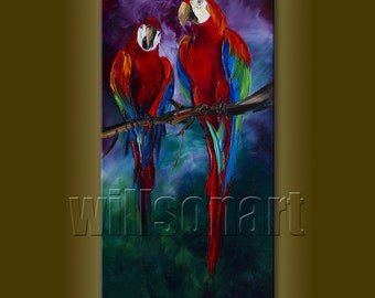 Parrot Modern Animal Oil Painting Textured Palette Knife Contemporary Original Art 15X30 by Willson Lau
