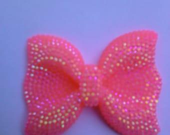 Kawaii big hot pink bow with pink acrylic rhinestone cabochon USA seller