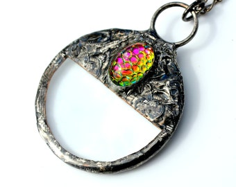 Magnifying Glass Pendant, Oval Glass Cab, Helio Snakeskin Glass, Magnifying Jewelry, Long Necklace (#2347)