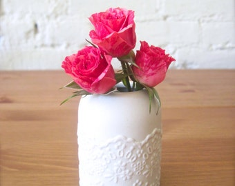 Lovely Porcelain Lace Mini Flower Vase-Hideminy Lace Series