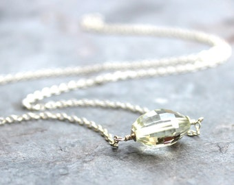 Green Amethyst Necklace Sterling Silver Focal Faceted Mint Green Bead Prasiolite Necklace