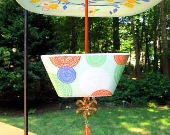 Covered Hanging Bird Feeder, Melamine, Birds and Flowers Design