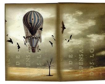 Hot Air Balloon Digital Download, Steamship Pocket Template, Tri-fold Steampunk Template