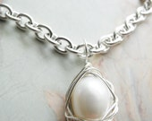 "Beautiful AA Quality 10-11mm Pearl ""Egg"" Wire Wrapped Silver Bird Nest Pendant, Chain Included, Knottin' Nest Jewelry"