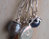 Interchangeable Faceted Grey Pearl Charm Pendant