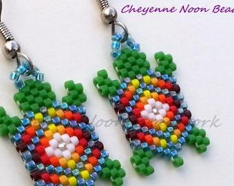 Native American Beaded Earrings - Brick Stitch - Turtles - Rainbow Storm Blue - Diamond