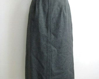 Vintage 1980s Wool Skirt Clubmen 80s Gray Wool Straight Midi Skirt 10