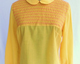 Vintage 60s Blouse Bright Yellow Crepe with Coral Orange Smocking UNIQUE Size M / L  Women's by Ship 'n Shore New With Tags