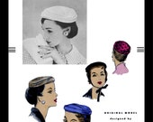 VOGUE 8547 Designer Mr John Millinery Vintage 60's Sexy Chic Hats Cap Pill Box Headcover Fabric Material Sew Pattern Reproduction / Copy 22""