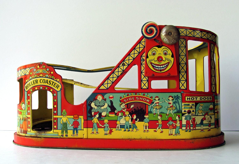 Vintage Tin Toys : Vintage roller coaster j chein tin litho carnival ride fair