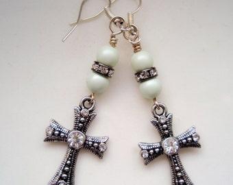 Dainty Silver Rhinestone Cross Earrings with Pale Green Swarovski Pearls, Green Earrings, Silver Earrings