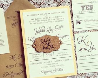 Love Bird Wedding Invitation with wine cork tag - SAMPLE