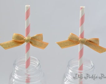 Pink & White Paper Straws with Gold Satin and Glitter Ribbon Bows - 25 count