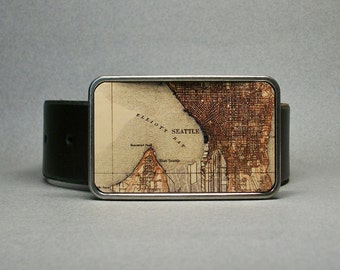 Belt Buckle Vintage Seattle Washington Map on Metal Cool Gift for Men or Women