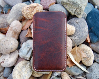 Leather iPhone 6 Plus Sleeve, iPhone 6, iPhone SE Case, Iowa Saddle Bison Leather, iPhone Case