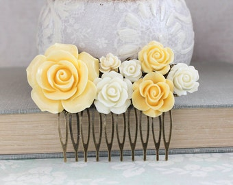 Yellow Rose Comb Bridal Hair Comb Country Chic Wedding Ivory Cream Flower Head piece Romantic Bridesmaid Gift Vintage Style Flowers for Hair
